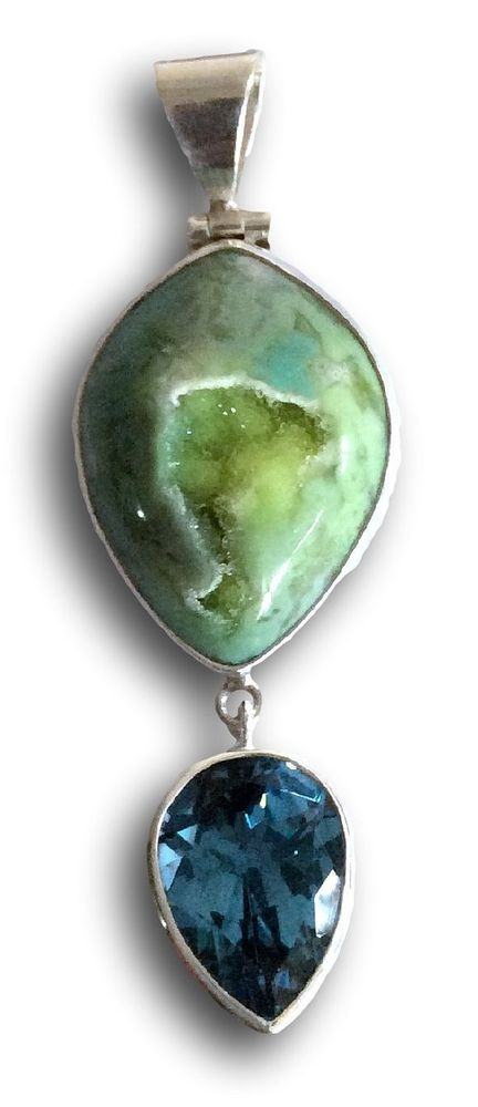 Jewelry With Soul Blue Topaz Green Druzy 925 Sterling Silver Pendant