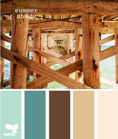 This is the basic palette we're using in our bedroom. The two mid-tone browns will actually be wood/wood tones of the furniture and possibly the floor. Colors are the Summer shade palette from Design-Seeds.com