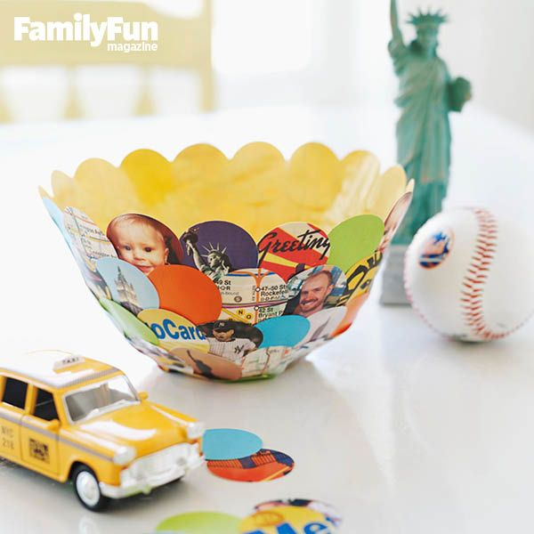 Summer Souvenir Bowl: Turn paper ephemera from your vacation into a container to showcase your family's happy memories.