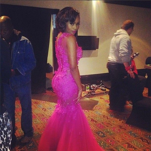 rihanna dress Bonang Matheba Pink Tulle Celebrity Dress Evening Prom Dress With Flower Appliques And Lace Sexy See Through