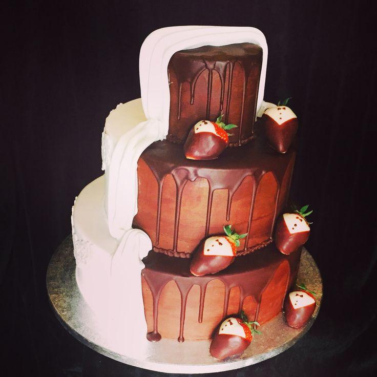 Wit en chocolade bruidstaart