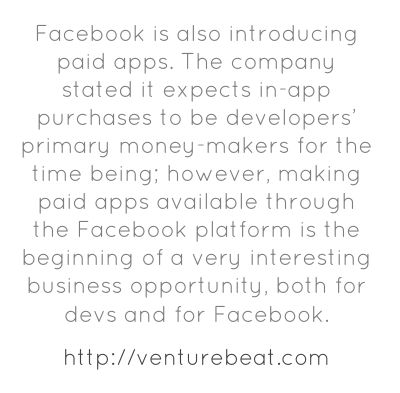 Facebook is also introducing paid apps. The company stated it...