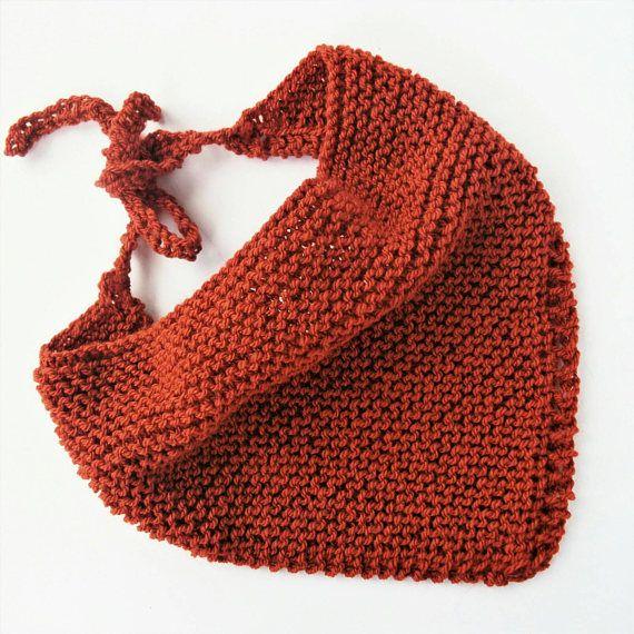 Orange bandana, knitted neck scarf, festival scarf, copper bandana, knit head scarf, hand knit bandana, dreadlock accessories, lelsloom