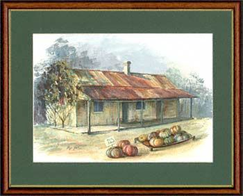 Olga Gostin… Pumpkin Cottage Country New South Wales, Australia... This Colonial dwelling has charm in its simplicity. The rusty corrugated iron roof is typical of many structures found in country Australia. The pumpkins signify a late Autumn setting which is typically still very warm in Australia.