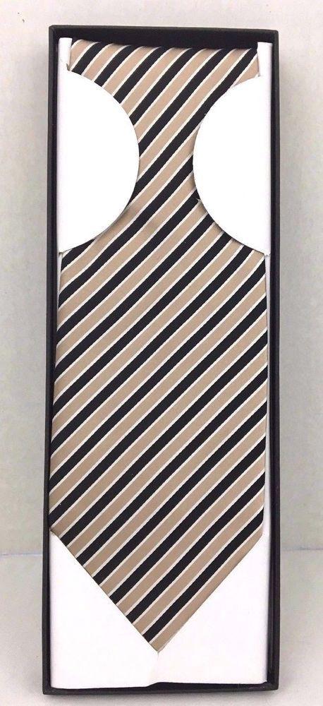 Del Rossa Silk Repp Tie Black Gold Silver Diag Stripes 59x3.75 Mystic Clothing #MysticClothing #Tie
