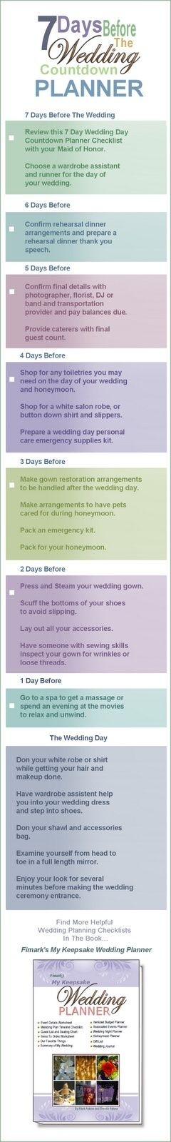 The ultimate countdown! For the week before your wedding!