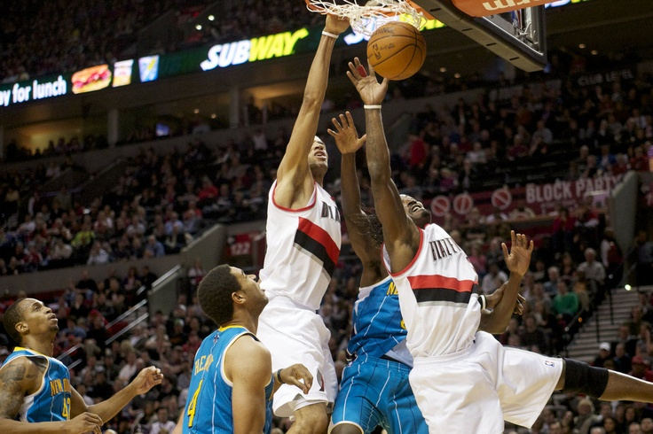 Nicolas Batum's follow dunk against the Hornets.