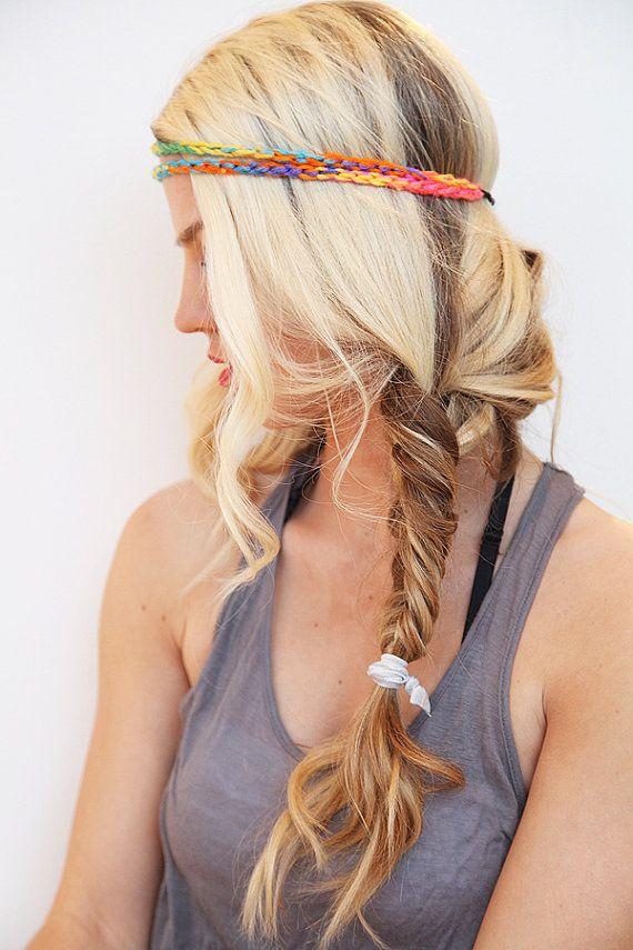 Neon Headband Tie Dye Yarn Hair Band Boho Style por RaydiantApparel