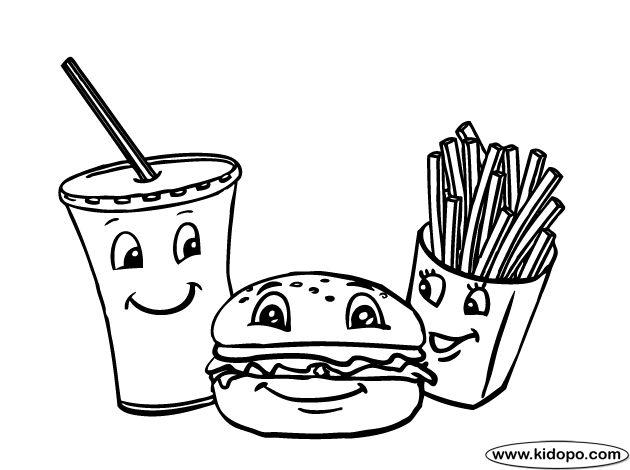 Hamburger And Fries Coloring Pages Coloring Pages Colouring Pages Hamburger fries