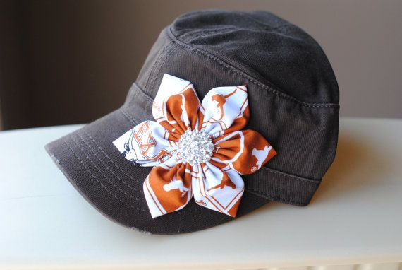 Texas Longhorn Cadet Hat Distressed Military Cadet flower hat. Texas Bling Hat University of Texas Bling Cap Texas Football Hook'em Horns on Etsy, $29.00