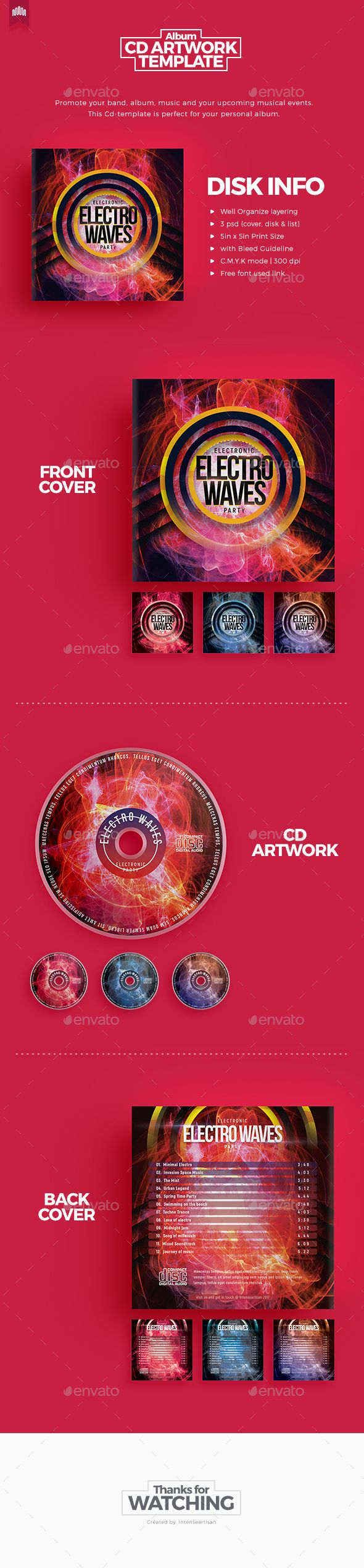 Electro Waves - Cd Artwork - #CD & DVD #Artwork Print #Templates Download here: https://graphicriver.net/item/electro-waves-cd-artwork/19529985?ref=alena994