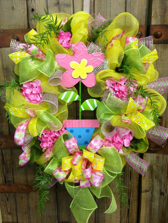 Spring/summer wreath by WilliamsFloral on Etsy, $72.00