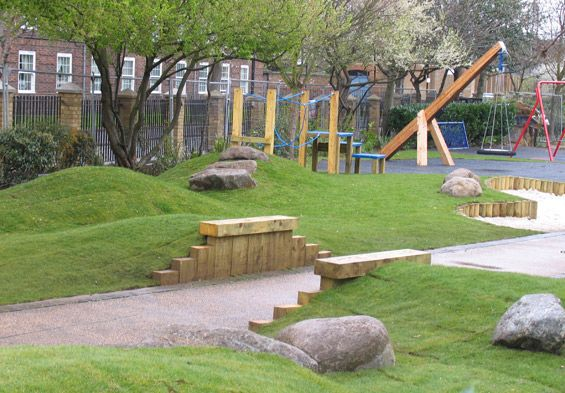 Grass mound playground matthew dalby landscape designer for Mounding grass