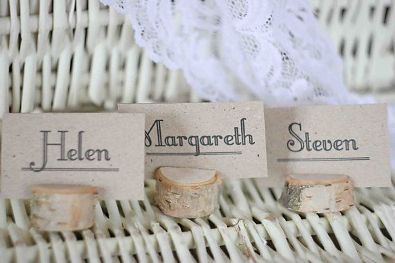 Rustic wedding name card holders wooden place card by MadeByChic, $78.00