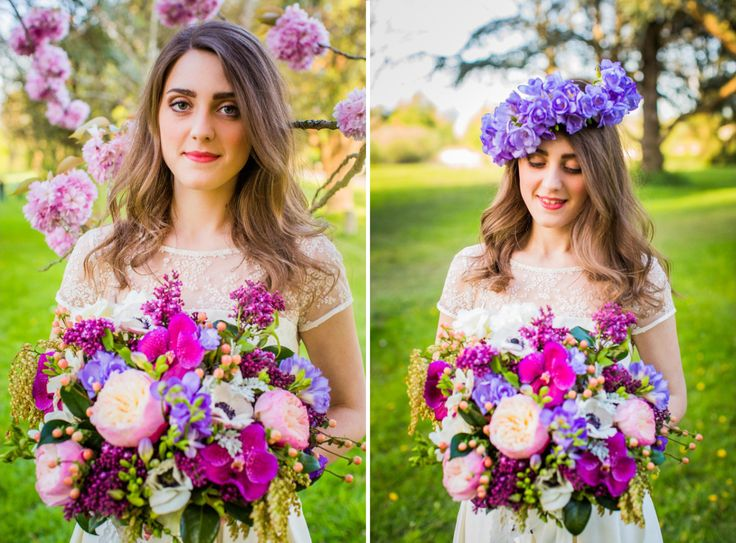 sophisticated floral designs bridal bouquet lavender purple fuscia radiant orchid spring flowers anemone lilac orchid, garden roses, peach hypericum, freesia freesia floral crown