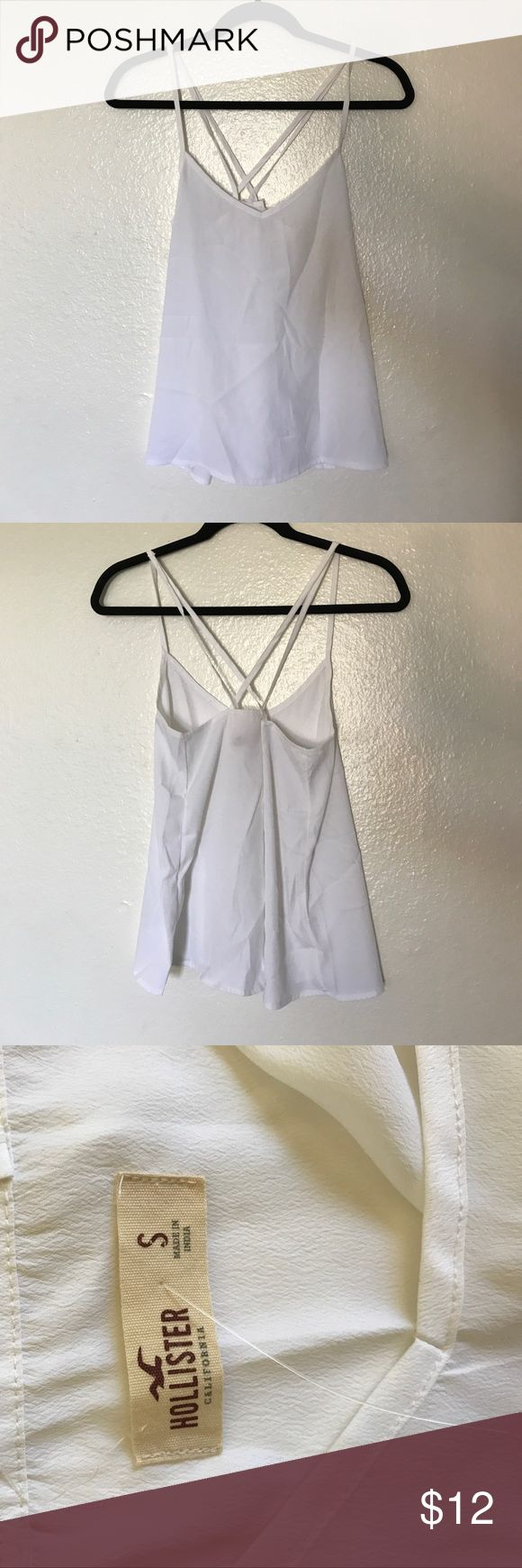Hollister White Tank Top Only worn once, doesnt have the tags. No signs of wear, I can steam before shipping it out if you would like (let me know in comments). It is see through, it would be a nice shirt to wear to the beach on top of your bathing suit or you could just wear a bralette underneath! Its a little tight in the chest area for me an i'm a 34C. Hollister Tops Tank Tops