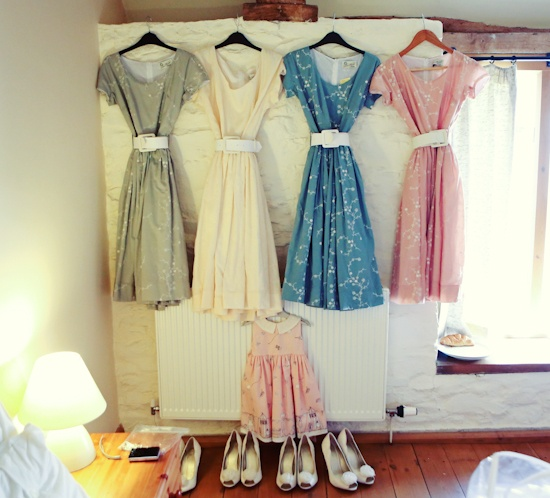 50s Style Bridesmaid Dresses By Tara Starlet 1950s Tea Party Wedding Cmaria Farrelly Photography