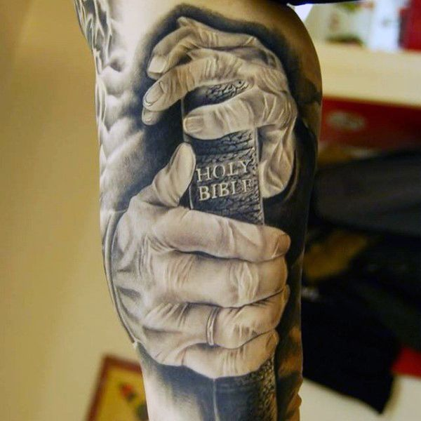 Mens Forearms Hands With Bible Religious Tattoo