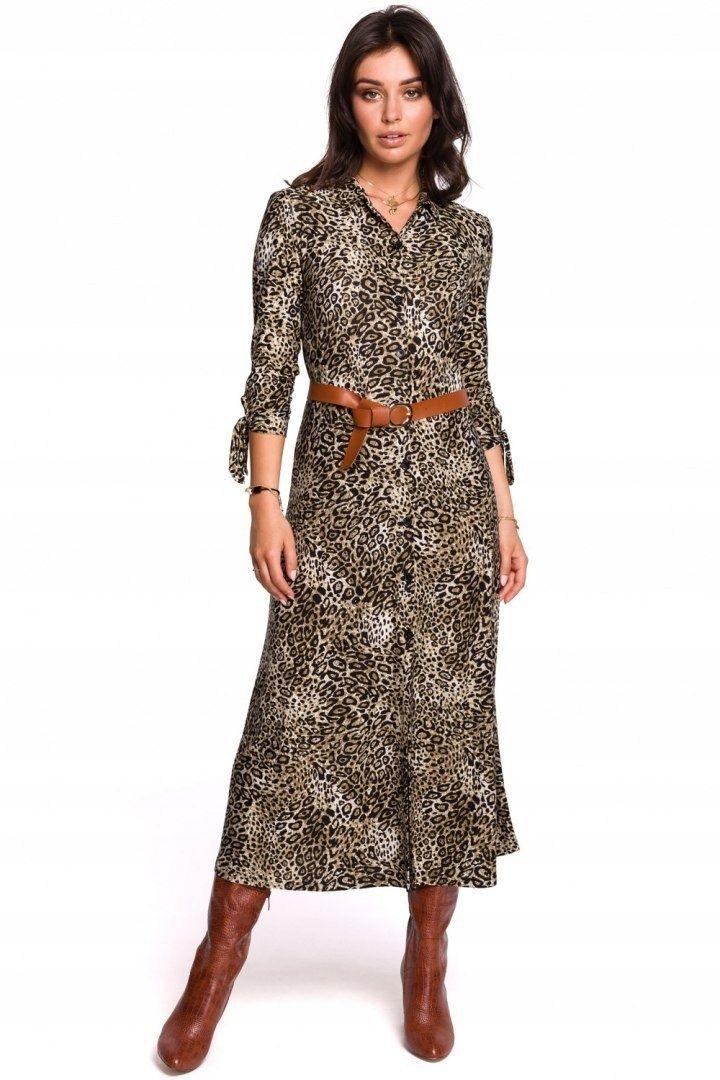 B135 Midi Koszulowa Sukienka Panterka 38 M 8419277774 Oficjalne Archiwum Allegro Dresses Leopard Print Maxi Dress Womens Dresses
