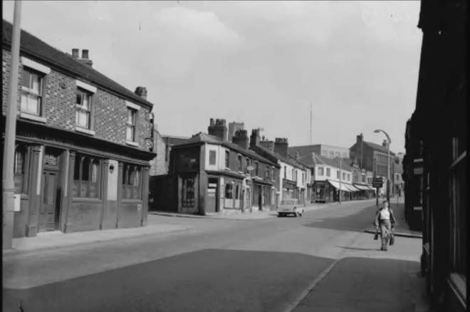 Looking up towards Hanley town centre from the bottom of Hope Street.