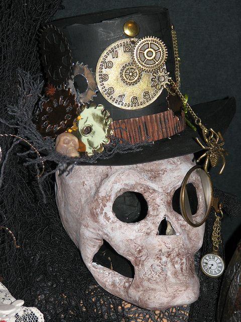 Steampunk Halloween  - Skull & Top Hat