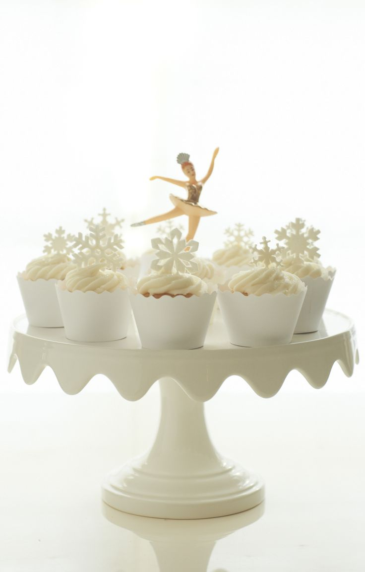 Such a cute stand / Martha Stewart for Macy's cake stand, One Girl Cookie cupcakes, Bella Couture white cupcake liner, NY Cake and Bake ballerina topper, SugarPetals-usa sugar snowflakes