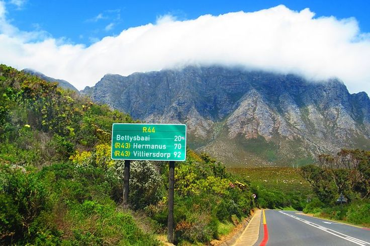 Sign board on road to Bettys Bay, Kleinmond and Hermanus.
