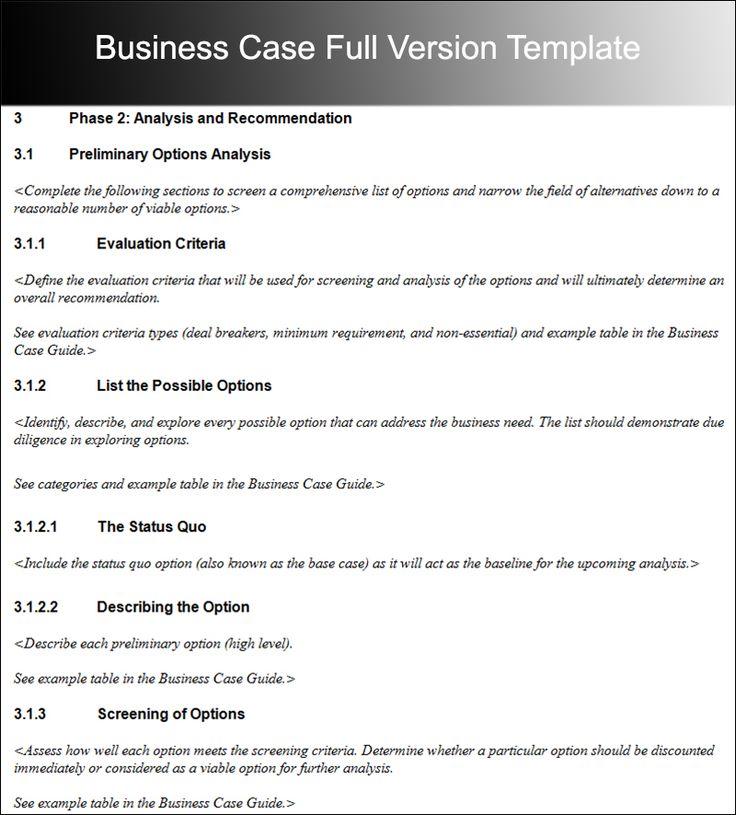 Die Besten  Business Case Template Ideen Auf   Web