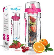 AquaFrut 32oz Fruit Infuser Water Bottle (Pink) with Bonus Brush! USA Seller!
