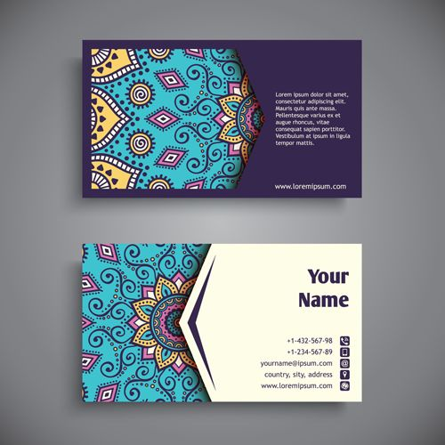 Ethnic pattern with business cards vector 02                                                                                                                                                      More