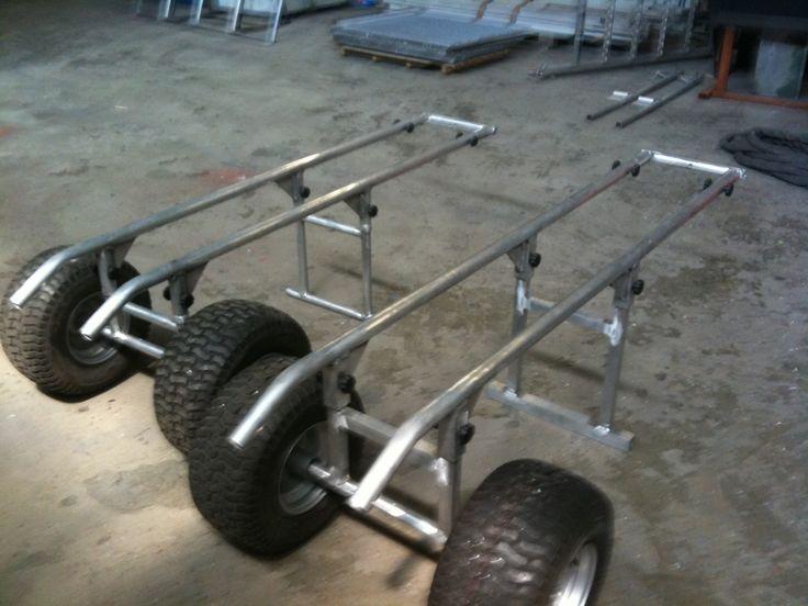 Selfmade aluminium jetski carts knutselen pinterest for Homemade fishing cart