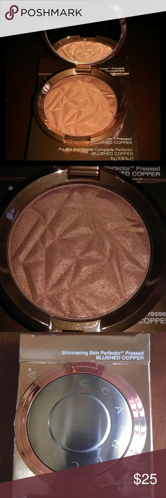BECCA Skin Perfector Pressed Blushed Copper A creamy luminizing powder that veils skin in a soft pearlized glow with a lustrous velvet finish.   It may not be new but I only used it twice. It still comes in the original box/packaging. BECCA Makeup Luminizer