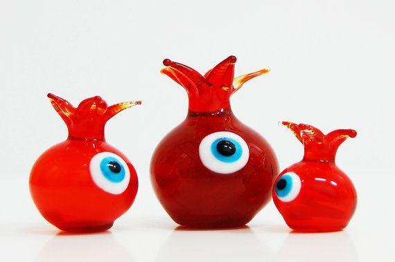 Pomagranate Set Glass with Evil Eye Handmade by TheGrandBazaar, $50.00