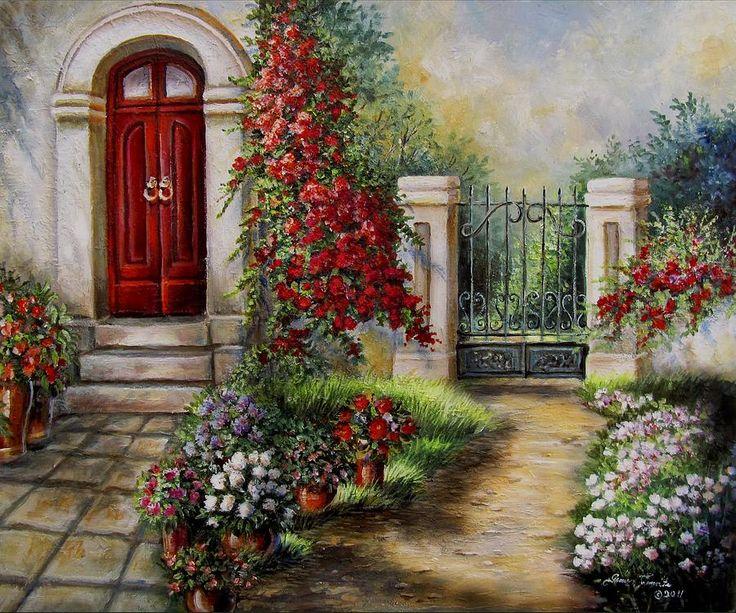 | Garden Painting by Gina Femrite - Gate To The Hidden Garden Fine Art ...
