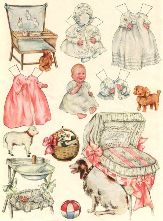 paper baby doll and accessories: Vintage Images, Vintage Baby, New Baby Cards, Clip Art, Baby Paper, Baby Dolls, Vintage Paper Dolls, Vintage Style, Baby Shower