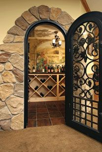 Wine Cellar wall has a hand-painted mural of a wine country scene. & 251 best Wine Cellars and Closets images on Pinterest | Wine cellars ...