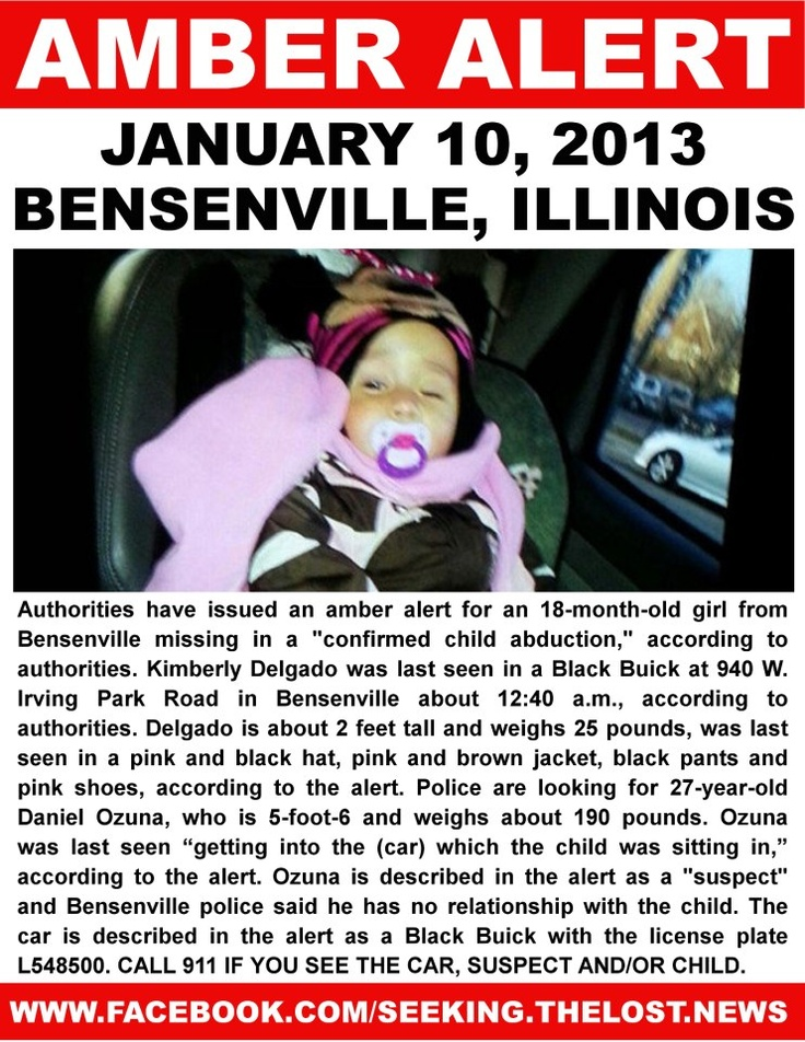 1/10/2013: ILLINOIS AMBER ALERT: STRANGER ABDUCTION: Authorities have issued an Amber Alert for an... pinned with Pinvolve