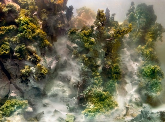 Surreal landscapes created in a 200 gallon fish tank, using crafted plaster molds, various found objects, color pigments and lighting. Amazing!