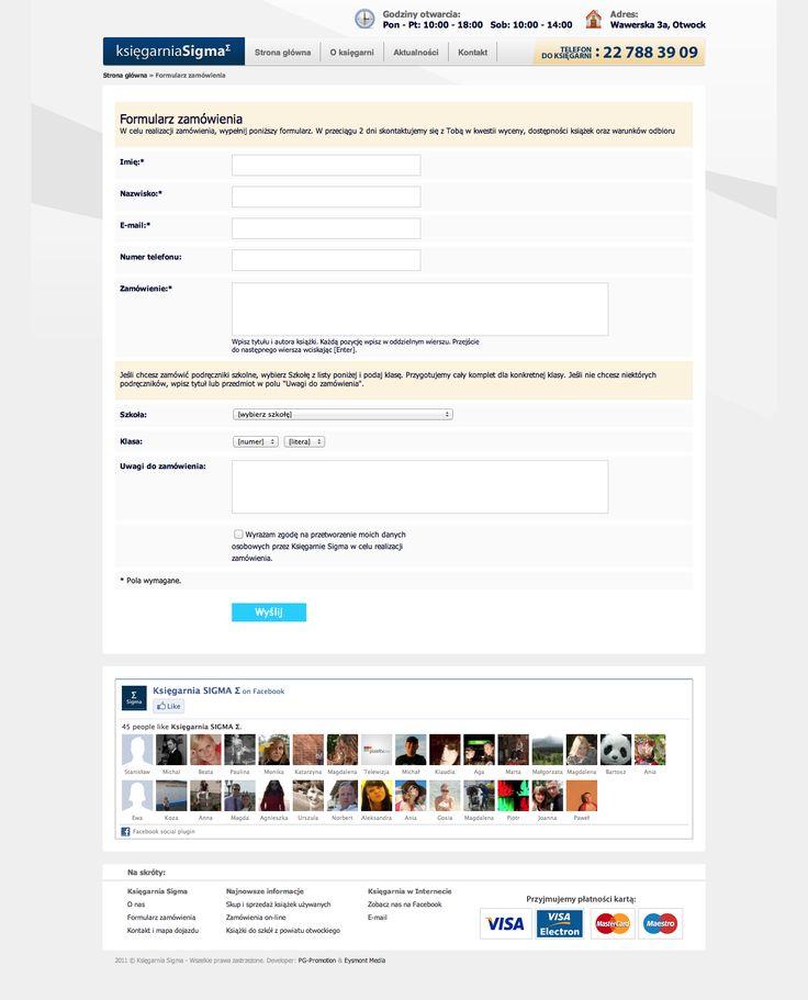 Podstrona/formularz dla księgarni SIGMA.