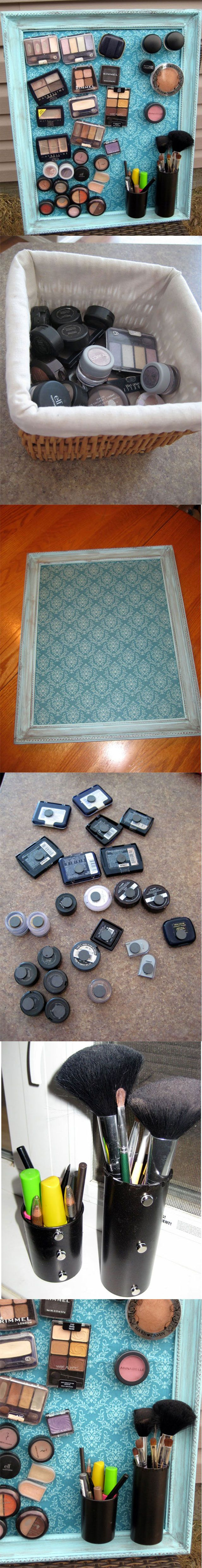 DIY: Usful Make-Up Magnet Board..sweet jesu!! My life just got easier! I would prob use this for the most frequent ones I use!