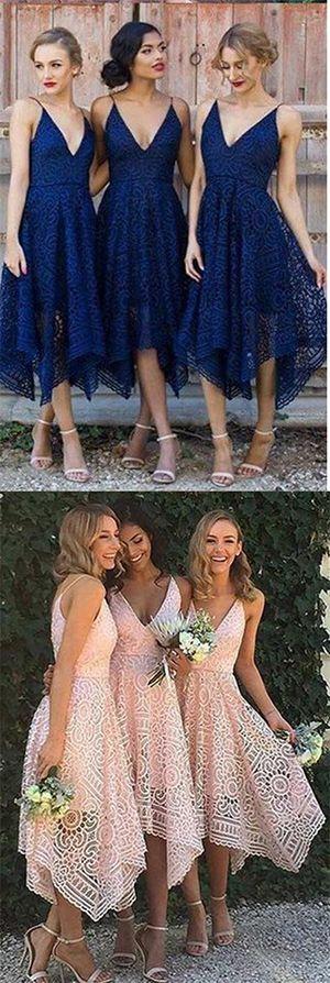 Navy Blue/Pink Deep V-neck Spaghetti Straps Sleeveless Asymmetry Lace A-line Bridesmaid Dresses