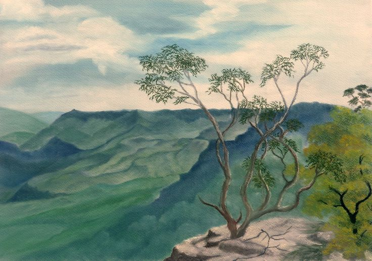 Ledge Tree - Framed Panpastel on 360 gsm superior light fast pastel paper. 54 x 41.5cm