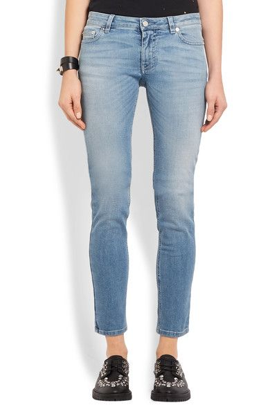 Givenchy - Printed Low-rise Skinny Jeans - Mid denim - FR40