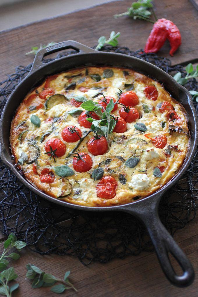 Mediterranean Veggie Frittata with cherry tomato, zucchini, capsicum, feta cheese & oregano.