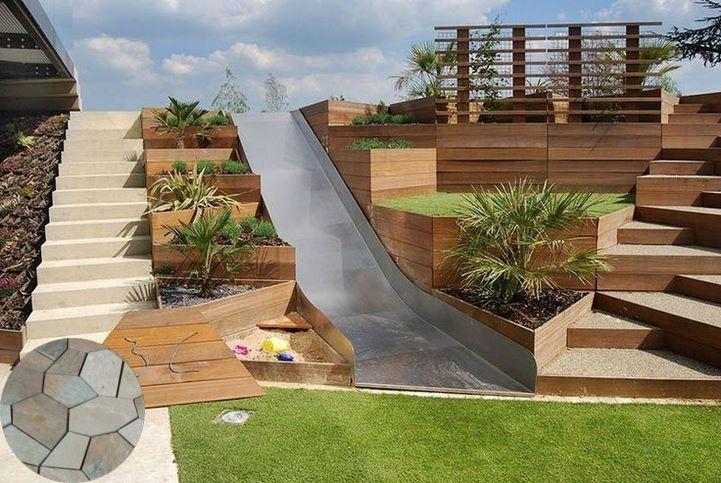 Terraced Patio Ideas In 2020 Sloped Backyard Backyard Slide