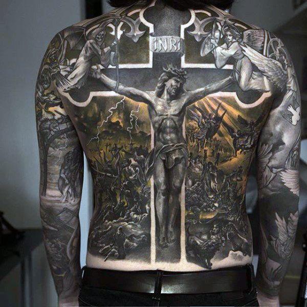 Jesus On The Cross Religious Tattoo Male Full Back   tatuajes | Spanish tatuajes  |tatuajes para mujeres | tatuajes para hombres  | diseños de tatuajes http://amzn.to/28PQlav