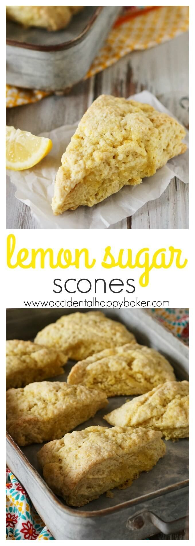 Lemon sugar scones are light and tender, with a delicate and natural lemon flavor. Perfect for nibbling alongside your favorite cup of tea. Recipe on http://www.accidentalhappybaker.com @AHBamy