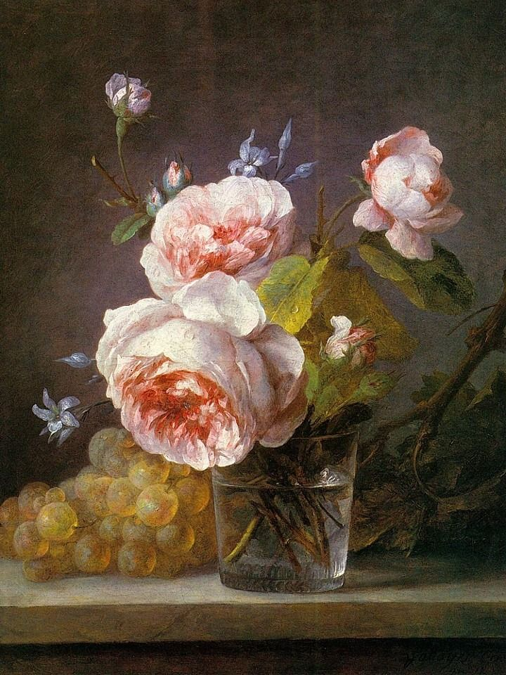 Anne Vallayer Coste (French, 1744-1818) - Still Life of Pink Roses in a Glass