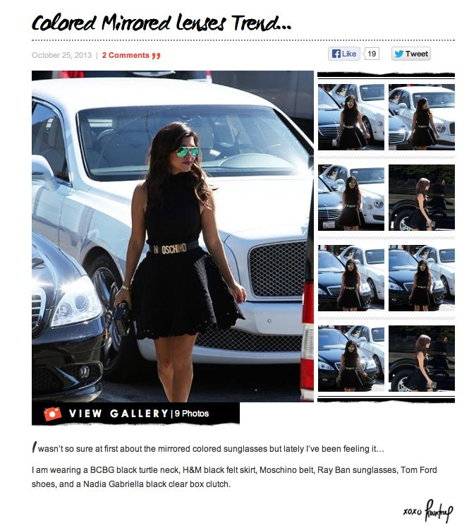 Kourtney kardashian porte les ray ban aviator rb 3025 112 for Ray ban verre bleu miroir