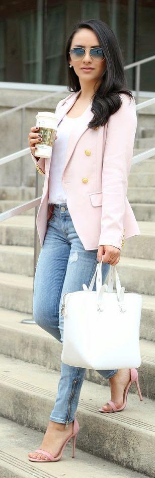 Light Pink Blazer Streetstyle